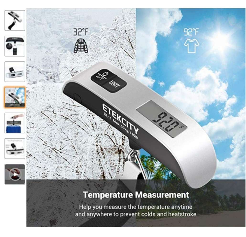 Temperature Sensor Rubber Paint New Digital Hanging Luggage Scale 110 Pounds